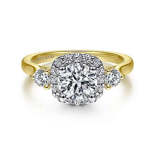 Gabriel - Martine 14k Yellow/white Gold Round Halo Engagement Ring