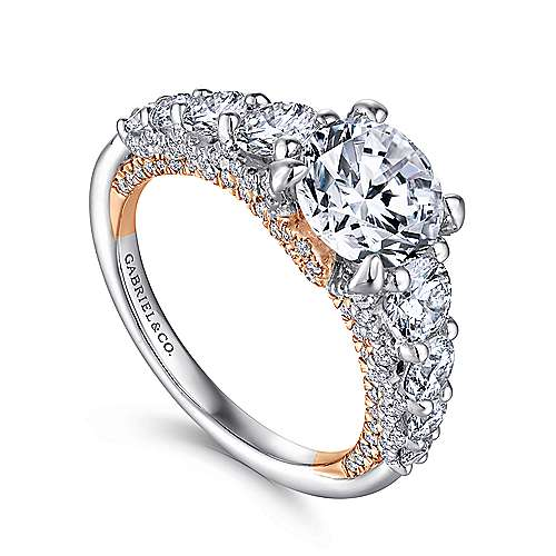 Martini 18k White And Rose Gold Round Straight Engagement Ring angle 3