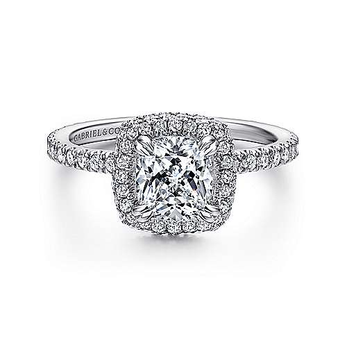 Gabriel - Mary 18k White Gold Cushion Cut Double Halo Engagement Ring