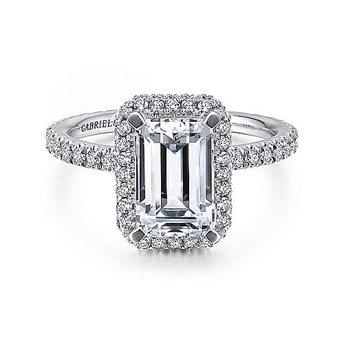 Gabriel - Mary 18k White Gold Emerald Cut Double Halo Engagement Ring