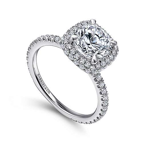 Mary 18k White Gold Round Double Halo Engagement Ring angle 3