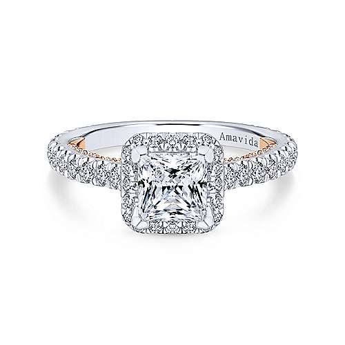 Gabriel - Masala 18k White And Rose Gold Princess Cut Halo Engagement Ring