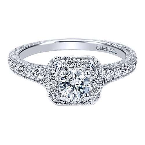 Gabriel - Masu 14k White Gold Round Halo Engagement Ring