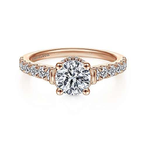 Gabriel - Matilda 14k Rose Gold Round Straight Engagement Ring
