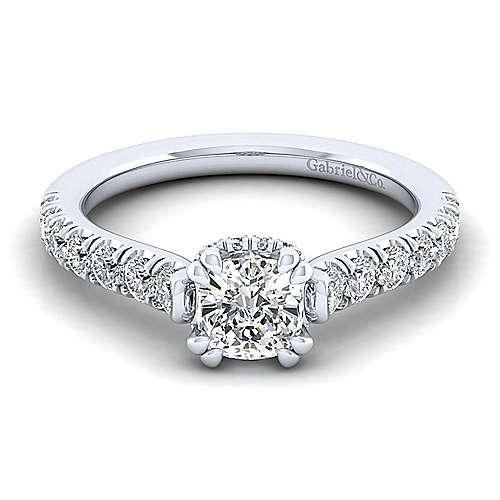Gabriel - Matilda 14k White Gold Cushion Cut Straight Engagement Ring