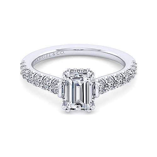 Gabriel - Matilda 14k White Gold Emerald Cut Straight Engagement Ring