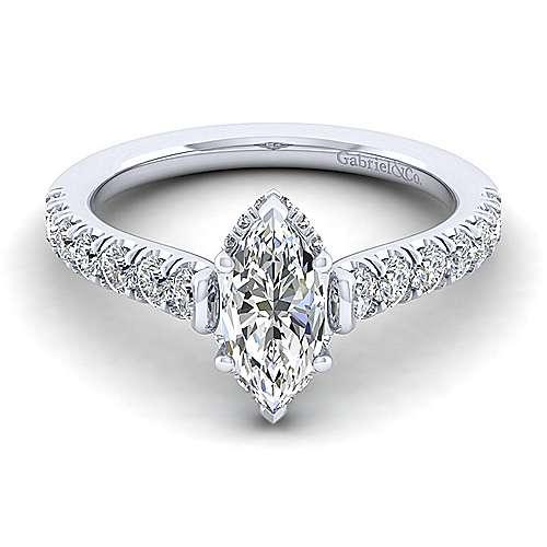 Gabriel - Matilda 14k White Gold Marquise  Straight Engagement Ring