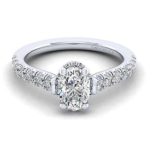 Gabriel - Matilda 14k White Gold Oval Straight Engagement Ring