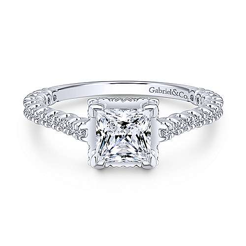 Gabriel - Matilda 14k White Gold Princess Cut Straight Engagement Ring