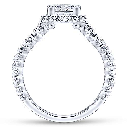 Matilda 14k White Gold Princess Cut Straight Engagement Ring angle 2