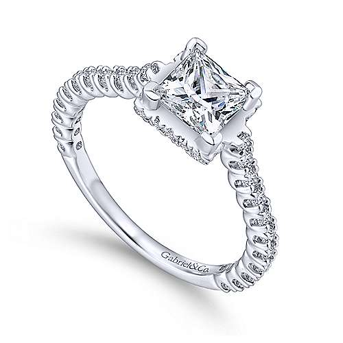 Matilda 14k White Gold Princess Cut Straight Engagement Ring angle 3