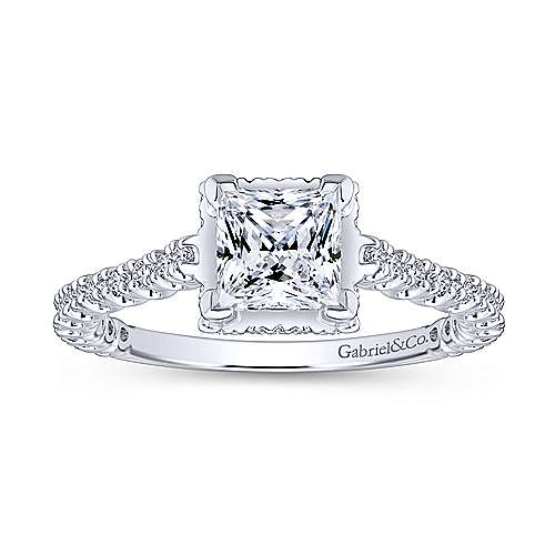 Matilda 14k White Gold Princess Cut Straight Engagement Ring angle 5