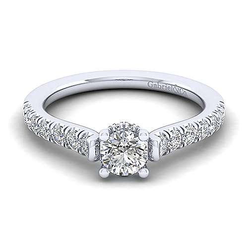 Gabriel - Matilda 14k White Gold Round Straight Engagement Ring