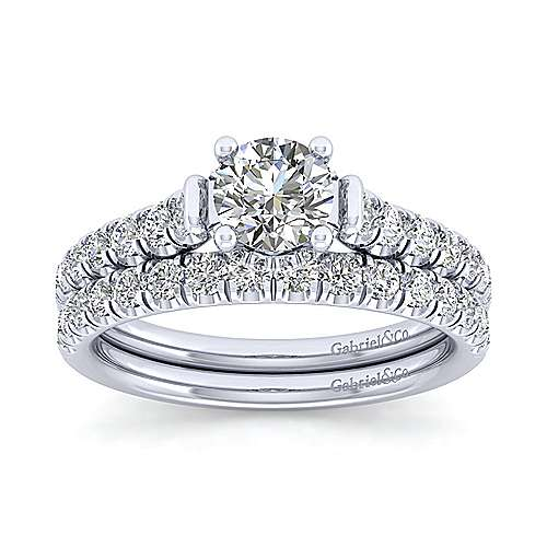 Matilda 14k White Gold Round Straight Engagement Ring angle 4