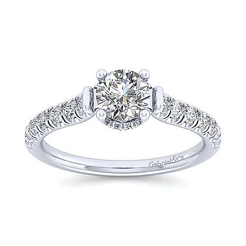 Matilda 14k White Gold Round Straight Engagement Ring angle 5
