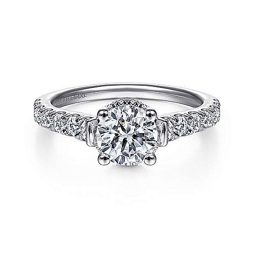 Gabriel - Matilda 14k White Gold Round Straight Engagement Ring