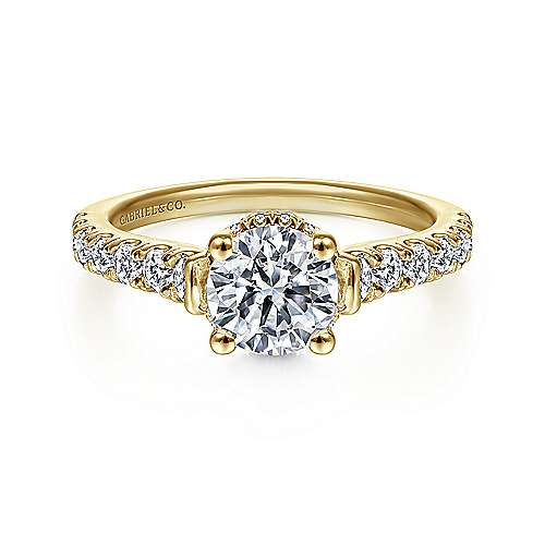 Gabriel - Matilda 14k Yellow Gold Round Straight Engagement Ring