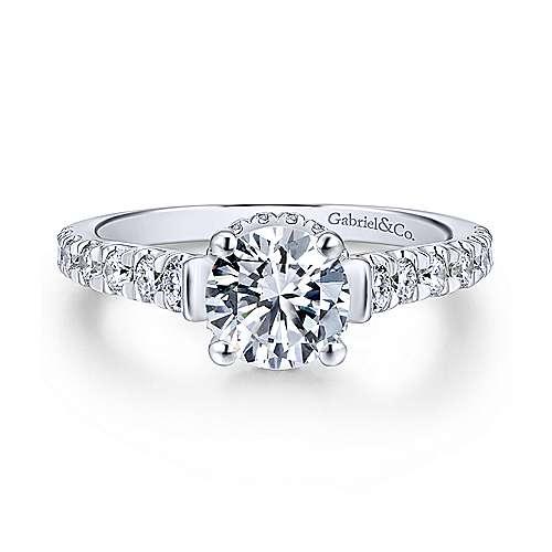 Gabriel - Matilda 18k White Gold Round Straight Engagement Ring