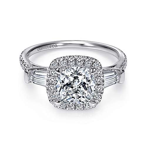 Gabriel - Maude 14k White Gold Cushion Cut Halo Engagement Ring