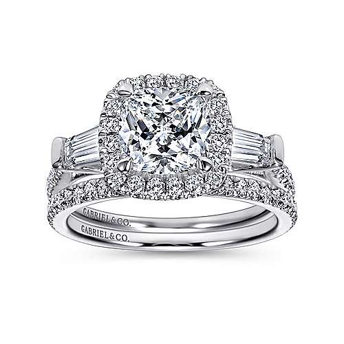Maude 14k White Gold Cushion Cut Halo Engagement Ring