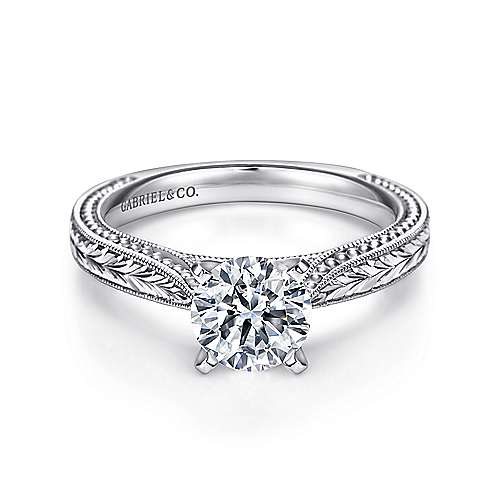 Gabriel - Maura 14k White Gold Round Straight Engagement Ring