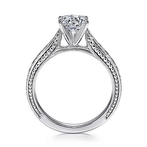 Maura 14k White Gold Round Straight Engagement Ring angle 2
