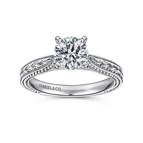 Maura 14k White Gold Round Straight Engagement Ring angle 5