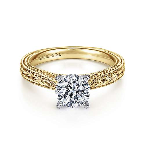 Maura 14k Yellow And White Gold Round Straight Engagement Ring angle 1