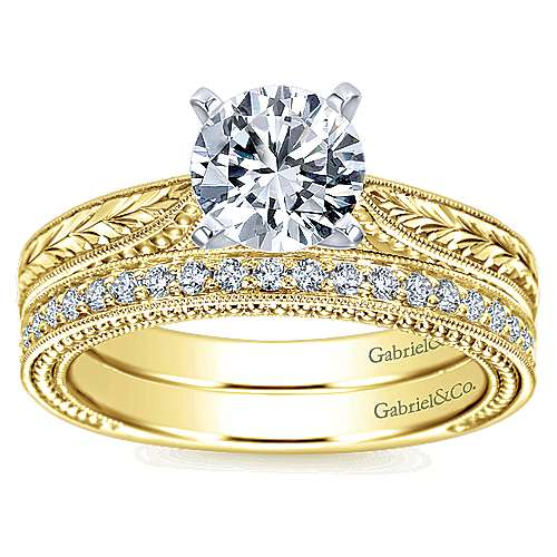 Maura 14k Yellow And White Gold Round Straight Engagement Ring angle 4
