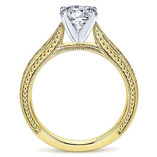 Maura 14k Yellow/white Gold Round Straight Engagement Ring angle 2