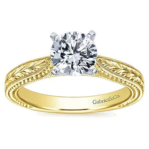 Maura 14k Yellow/white Gold Round Straight Engagement Ring angle 5