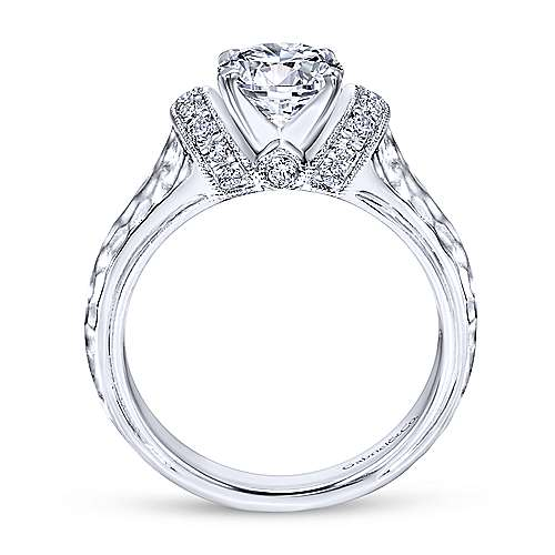 Maureen 14k White Gold Round Straight Engagement Ring angle 2