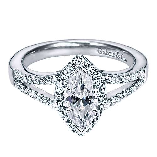 Gabriel - Mavis 14k White Gold Marquise  Halo Engagement Ring