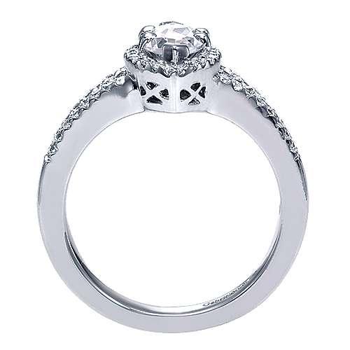 Mavis 14k White Gold Marquise  Halo Engagement Ring angle 2