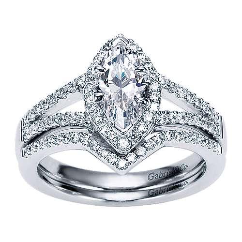 Mavis 14k White Gold Marquise  Halo Engagement Ring angle 4