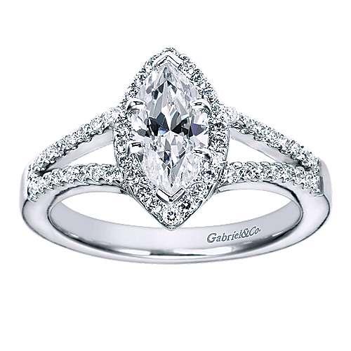 Mavis 14k White Gold Marquise  Halo Engagement Ring angle 5
