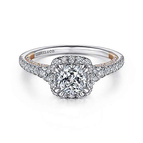 Gabriel - Maxim 18k White And Rose Gold Cushion Cut Halo Engagement Ring