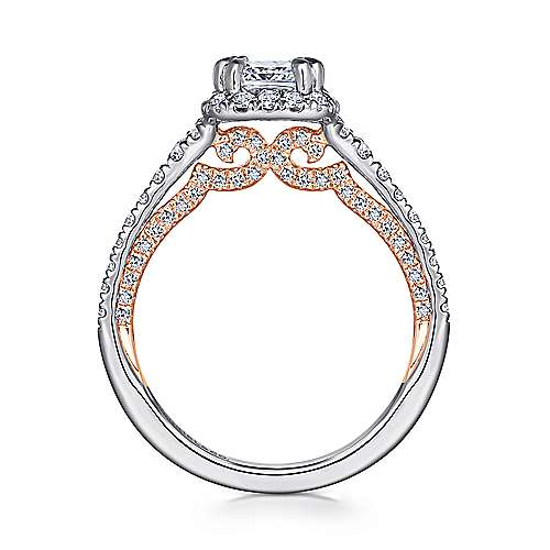 Maxim 18k White And Rose Gold Cushion Cut Halo Engagement Ring angle 2