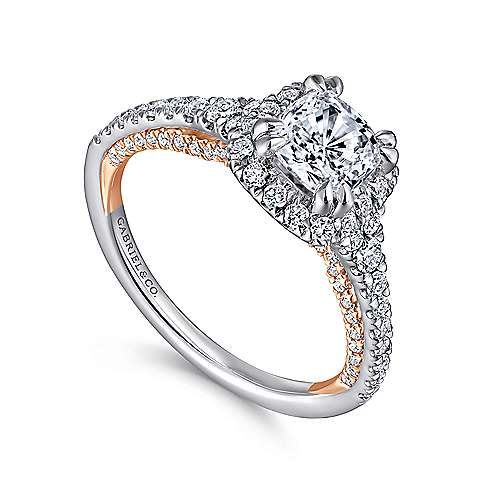 Maxim 18k White And Rose Gold Cushion Cut Halo Engagement Ring angle 3
