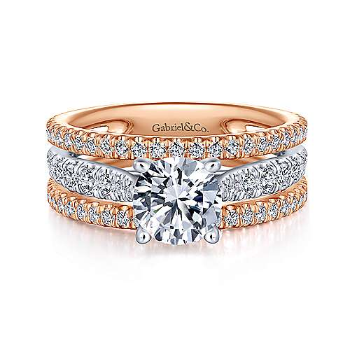Maxine 18k White And Rose Gold Round Straight Engagement Ring angle 1