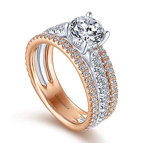 Maxine 18k White And Rose Gold Round Straight Engagement Ring angle 3