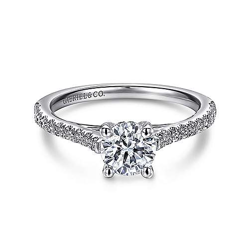 Gabriel - May 14k White Gold Round Straight Engagement Ring