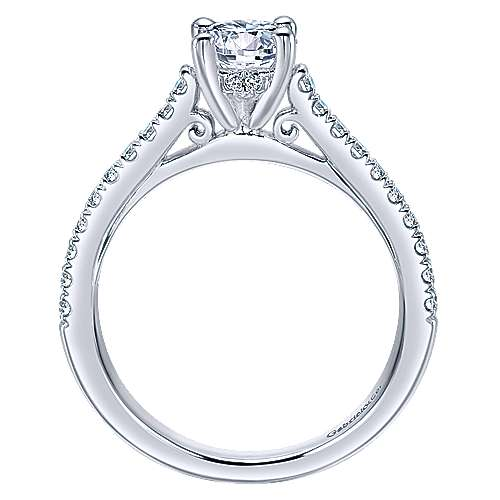 May 14k White Gold Round Straight Engagement Ring angle 2