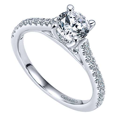 May 14k White Gold Round Straight Engagement Ring angle 3