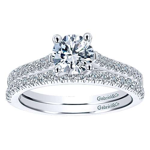 May 14k White Gold Round Straight Engagement Ring angle 4