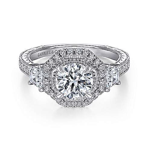 Mayfield 14k White Gold Round Halo Engagement Ring