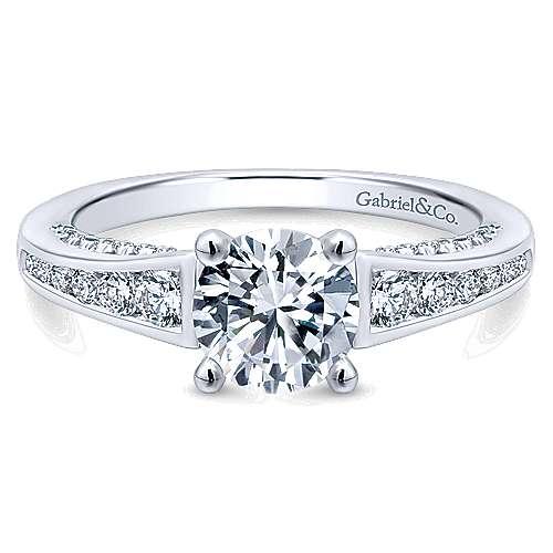 Gabriel - Mayflower 14k White Gold Round Straight Engagement Ring