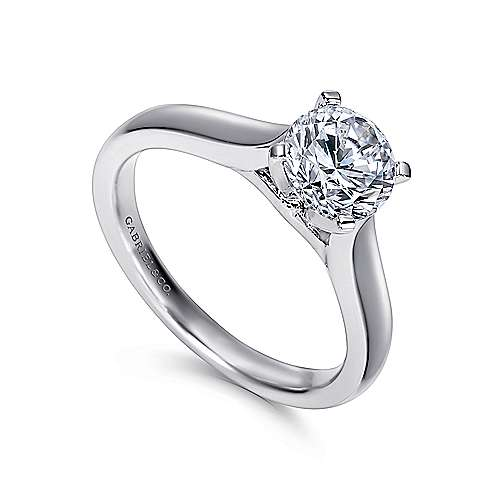 Mckinley 14k White Gold Round Solitaire Engagement Ring angle 3