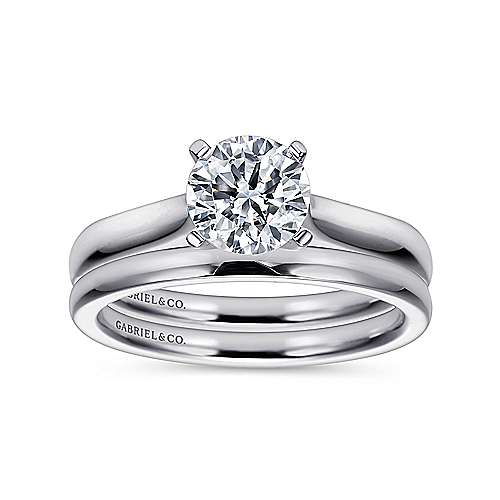 Mckinley 14k White Gold Round Solitaire Engagement Ring angle 4