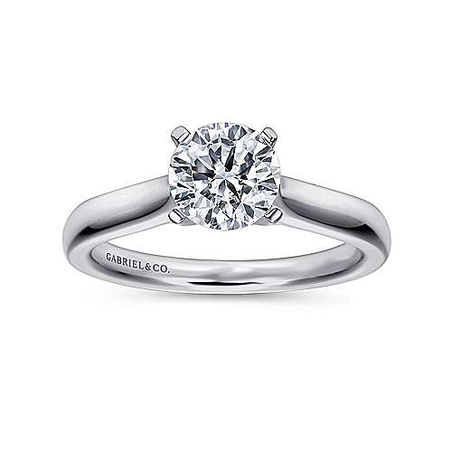 Mckinley 14k White Gold Round Solitaire Engagement Ring angle 5